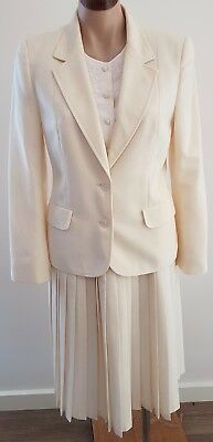Vintage 80s FLETCHER JONES WOOL BLEND CREAM Office SKIRT JACKET Set SUIT size 10