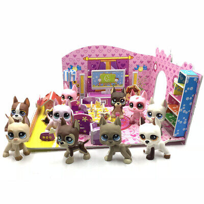 littlest pet shop toys lps dogs + puzzle bedroom Great Dane dog with accessories