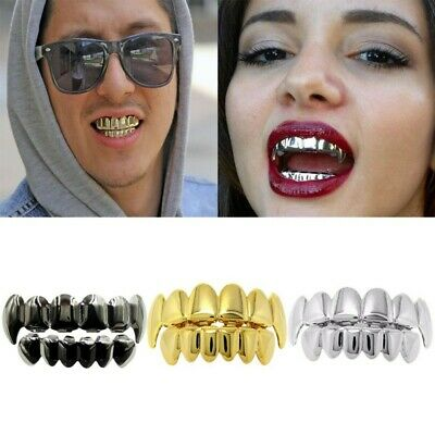 New 14K Gold Plated Hip Hop Teeth Grillz Mouth Bottom Teeth Grill Gangster Party