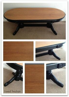 Beautifully RESTORED Heavy Oval Wooden Coffee Table- Satin Black Harvest Legs