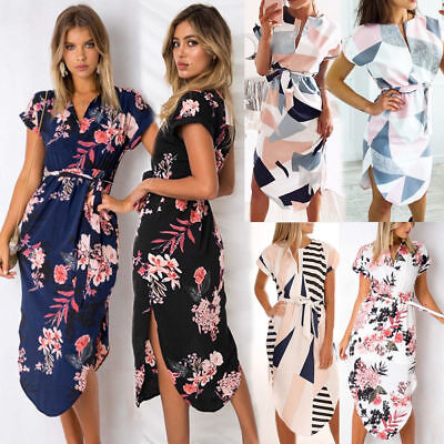 Womens Floral Long Dress Ladies Summer Office Work Loose Tunic Dresses Plus Size