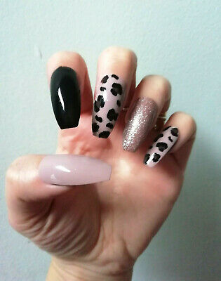 Hand Painted False Nails, Glossy, Nude, Animal Print, Long Coffin,Stiletto ANY