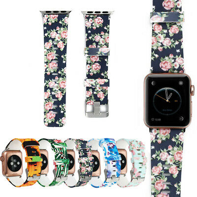 Floral Silicone Bracelet Sport Band For Apple Watch iWatch 40/44mm Series 4 3 2