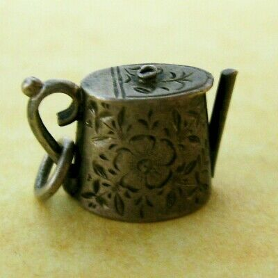 Antique Edwardian Sterling Silver Early 1900's Etched Teapot Charm