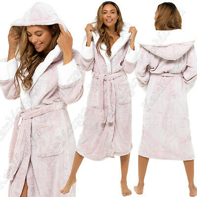 Ladies Luxury Shimmer Fleece Hooded Robe, Soft & Cosy Dressing Gown Sizes 8-22