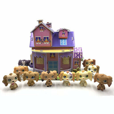 Lot LPS dogs littlest pet shop toys with puzzle bedroom Spaniel with accessories