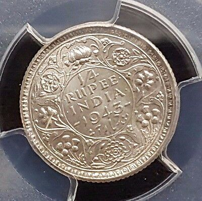 Slabbed Indian - 1943(c) Quarter Rupee - MS65