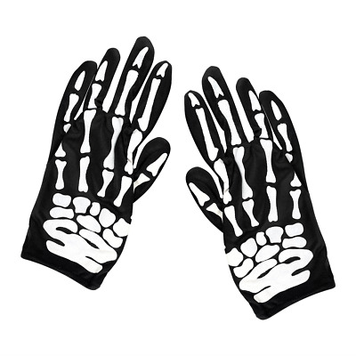 Halloween Skeleton Bones Printed Gloves Horror Scary Zombie Party Accessory