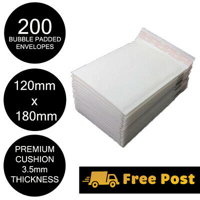 200x Bubble Mailer Envelope 120x180mm White Kraft Paper High Cushion Padded Bag