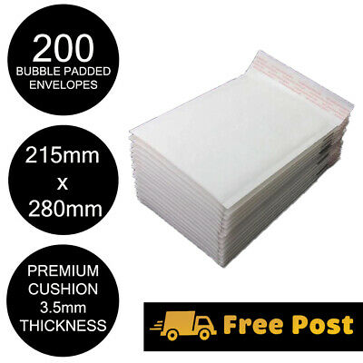 200x Bubble Mailer Envelope 215x280mm White Kraft Paper High Cushion Padded Bag