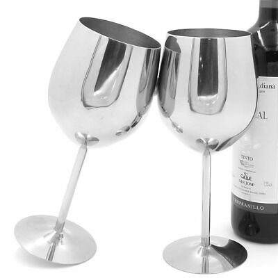 Classic Stainless Steel Wine Glass Metal Wineglass 2 Pcs Pack Luxury Drink Cup