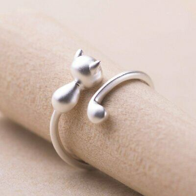 Women 925 Silver Cat Animal Open Ring Finger Jewelry Party Gift Wedding Fashion