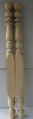 """PAIR NEW UNFINISHED SOLID MAPLE BELL + RING POSTER BED POSTS 53"""" high"""