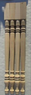 "SET 4  NEW UNFINISHED SOLID MAPLE TABLE FURNITURE LEGS  28"" high"