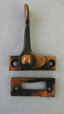Vintage Casement Window Sash Lock Latch + Keeper Japanned Copper Flash Nos