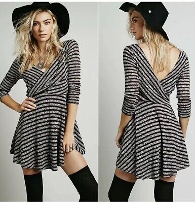 16fe4317f754d Free People Maverick Dress Womens XS Red White Striped Knit Long Sleeve V  Neck