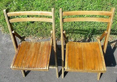 2  Vintage Double Slat Back Wooden Folding Chairs Mid Century