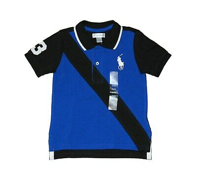 NWT Ralph Lauren Polo Babys Boys Big Pony Number 3 Pacht Striped Front Blue