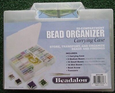 Beadalon Bead Organizer carrying case 52 individual compartment boxs with flip l