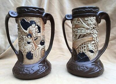 BEAUTIFUL TALL HEAVY PAIR of BRETBY POTTERY ORIENTAL STYLE VASES