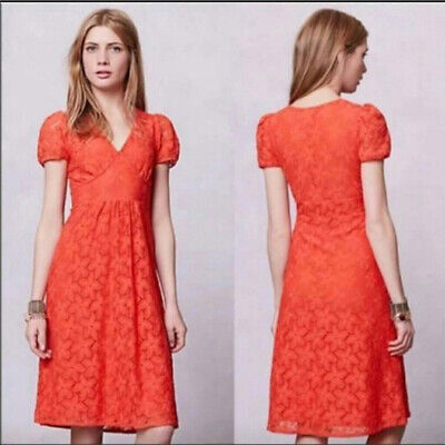 8eabee80f99d8 Anthropologie Leifnotes Red Orange Lace Dogflora Midi Floral Dress Size  large