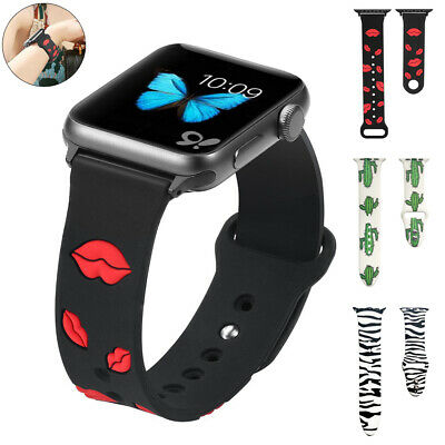 For Apple Watch iWatch 5 40/44mm 4 3 2 Sexy Lips Sport Silicone Strap Wrist Band