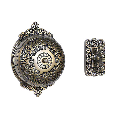 A29 Twist Hand-Turn Solid Brass Wireless Mechanical Doorbell Chime in Antique