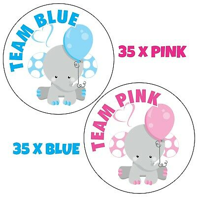 70x GENDER REVEAL PARTY baby shower, TEAM BLUE PINK Elephant party Stickers 1057