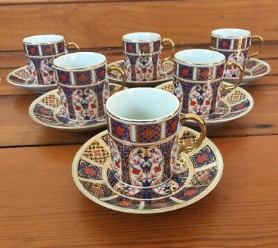 Set 6 Vtg Pearl China Porcelain Japanese Demitasse Tea Coffee Cups And Saucers