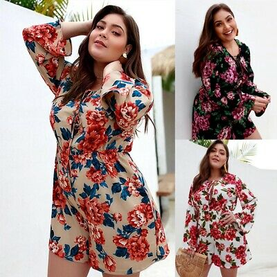 942f211a879 Plus Size Women Floral Printed Playsuit Romper Long Sleeve Casual Beach  Jumpsuit