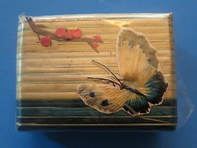 Small Chinese Wooden Box Silk Picture Trinket Jewelry Souvenir 2 X 1 1/2 X 1