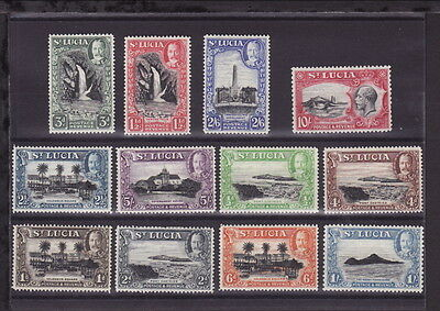 ST LUCIA 1936 KGV COMPLETE DEFINITIVE 12 STAMPS SET to 10 shillings - MINT LH