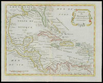 1787 - Original Antique Map CARIBBEAN FLORIDA GULF MEXICO USA by de la Tour (14)