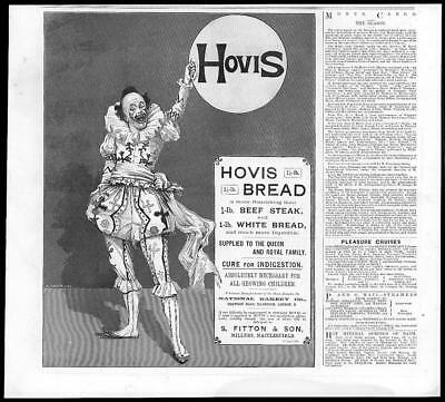 1894 Antique Print - ADVERTISING Hovis Bread Indigestion Clown Fitton  (290)