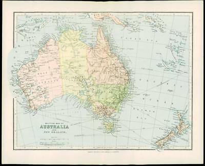 1900 Original Antique Colour Map of AUSTRALIA New Zealand New Guinea (15)