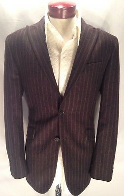 huge discount 67859 30000 F283 BANANA REPUBLIC Men s 42R Peak Lapel Wool Blend Charcoal Stripe Sport  Coat