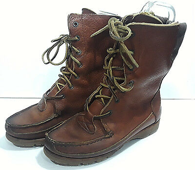51d205eea86b Vtg TIMBERLANDS Brown Leather Boots Mens 8.5 Lace Up Work Hiking Moc Toe 7  Eye