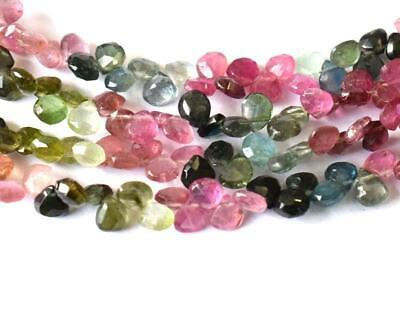 """9"""" Strand Natural Multi Tourmaline Beads Faceted Heart 4.5 Mm . 1 Line #710"""