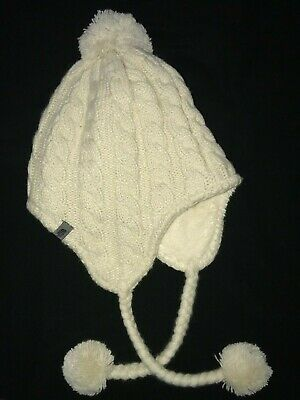 4cff041099e9d women s ivory knit THE NORTH FACE fleece lined WINTER HAT one size BRAIDS  POMS