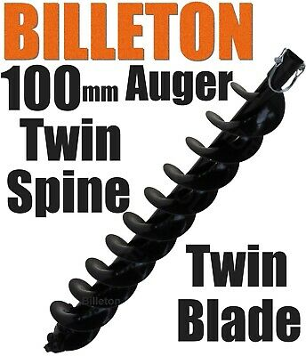 100mm Billeton Post Hole Digger Earth Auger Ground Drill Twin Blades Twin Spine