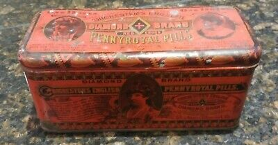 Vintage 1888 Diamond Brand Pennyroyal Pill Advertising Tin Quack Medicine