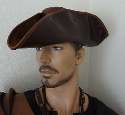Skull & Crossbones Brown Leather Pirate Tricorn Hat Re-enactment Stage & LARP