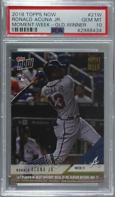 2018 Topps Now Moment of the Week Gold/639 Ronald Acuna Jr PSA 10 GEM MT Rookie