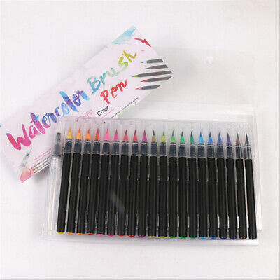 AU Watercolor Fine Brush Water Based Lettering Marker Calligraphy Pen 20 Colors