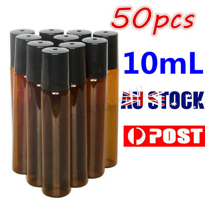 50pcs Roller Rollerball Perfume Essential Oil Roll On Ball Amber Glass Bottle Au
