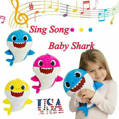 Kids Baby Shark Plush Singing Plush Toys Music Doll English Song Toy Gift US