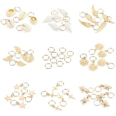 50Pcs Gold Shell Snowflake Pendant Rings Hair Clip Accessories for Braid JZ