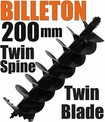 200mm Billeton Post Hole Digger Earth Auger Ground Drill Twin Blades Twin Spine