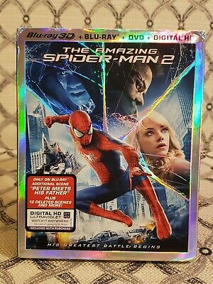 The Amazing Spiderman 2 Blu-Ray 3D + Blu-Ray + Dvd Brand New Free Shipping