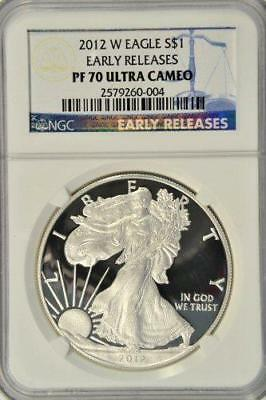 Proof 2012-W Early Releases $1 American Silver Eagle Ngc Pf70 Ultra Cameo